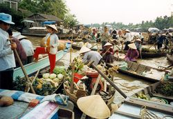 Vietnam_floating market on the Mekong